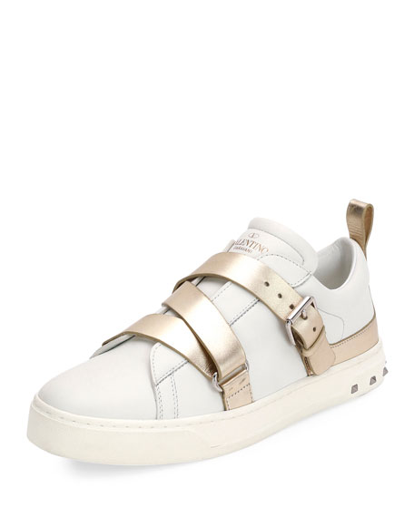 Valentino Garavani Colorblock Strappy Low-Top Sneakers, White/Platino
