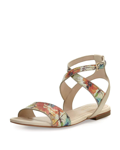 Cole Haan Fenley Printed Ankle-Wrap Flat Sandal, Sand