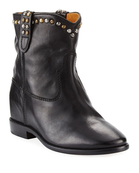 Isabel Marant Cluster Hidden-Wedge Western Boots, Black
