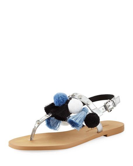 Estelle Pompom Tassel Flat Sandal, Silver