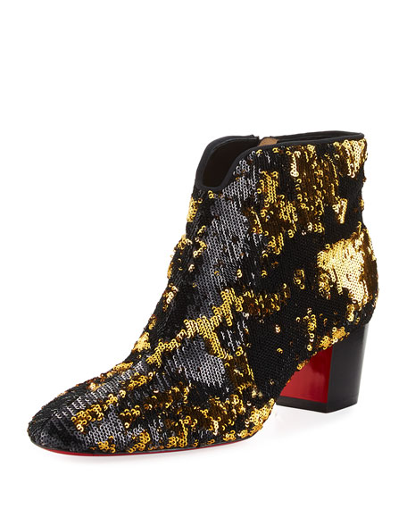 Christian Louboutin Disco Sequin 55mm Red Sole Bootie
