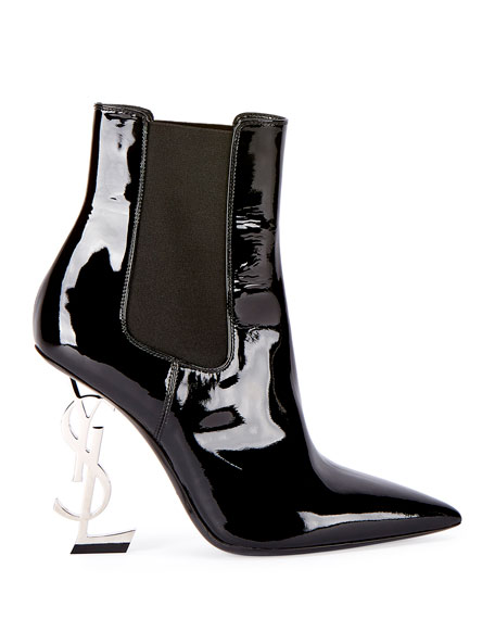 Opyum Patent Bootie with Monogram Heel, Black/Silver