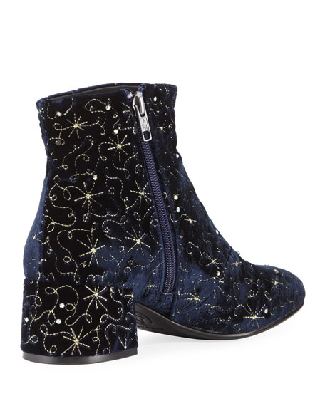 Diamond Bis Embroidered Velvet Boot