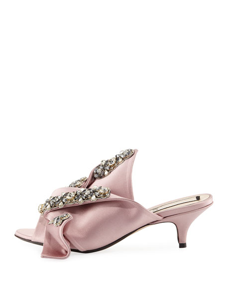 Jeweled Satin Low-Heel Mule Sandals, Rosa
