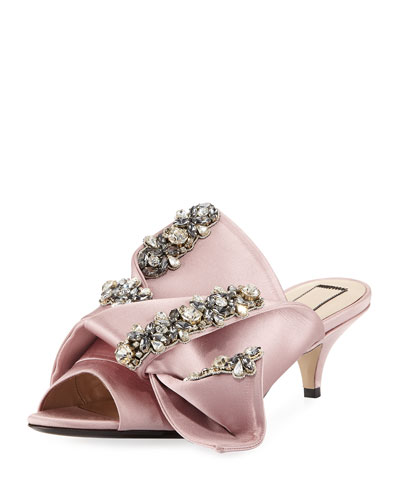 Jeweled Satin Low-Heel Mule Sandal, Rosa