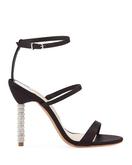 Sophia Webster Rosalind Satin Crystal-Heel Sandals