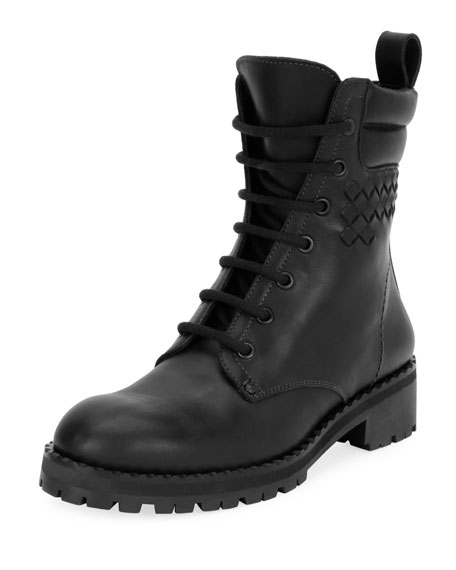 Bottega Veneta Leather Hiker Boot with Woven Detail,