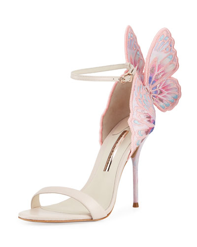 Chiara Embroidered Butterfly Sandals, Nude