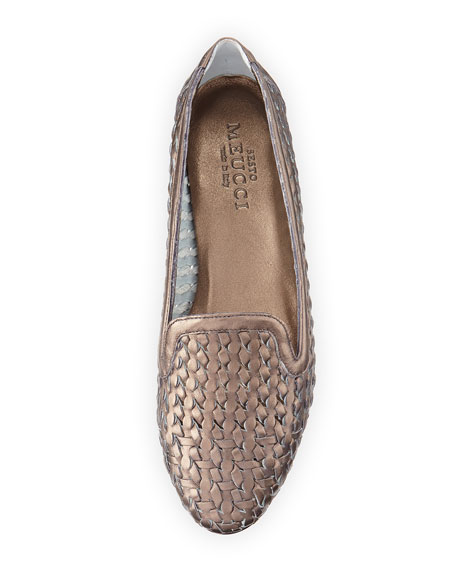 Sesto Meucci Neya Woven Metallic Loafer, Pewter