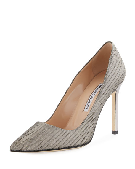 Manolo Blahnik BB 105mm Metallic Fabric Pump