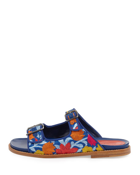 Sturluspla Embroidered Slide Sandal