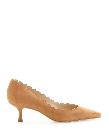Image 2 of 3: Manolo Blahnik Srilasca Scalloped Suede Kitten-Heel Pump