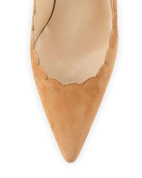 Image 3 of 3: Manolo Blahnik Srilasca Scalloped Suede Kitten-Heel Pump