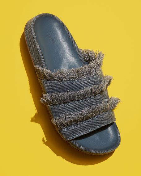 Jaden Frayed Flat Slide Sandal, Dark Denim