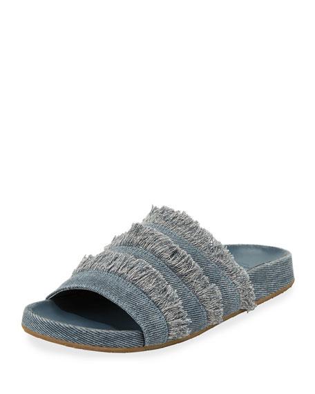 Joie Jaden Frayed Flat Slide Sandal, Dark Denim