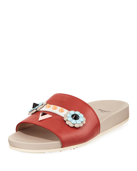 Fendi Faces Flat Slide Sandal, Red