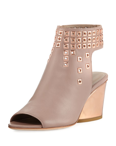 Jane Ornamented Leather Demi-Wedge Bootie