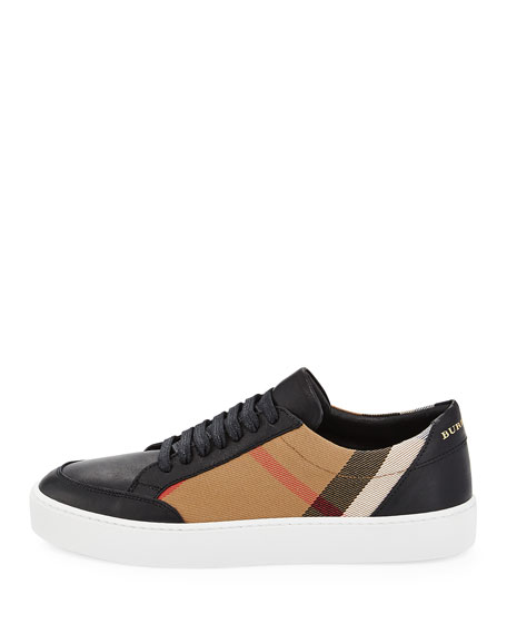 Salmond Check & Leather Low-Top Sneakers, House Check/Black