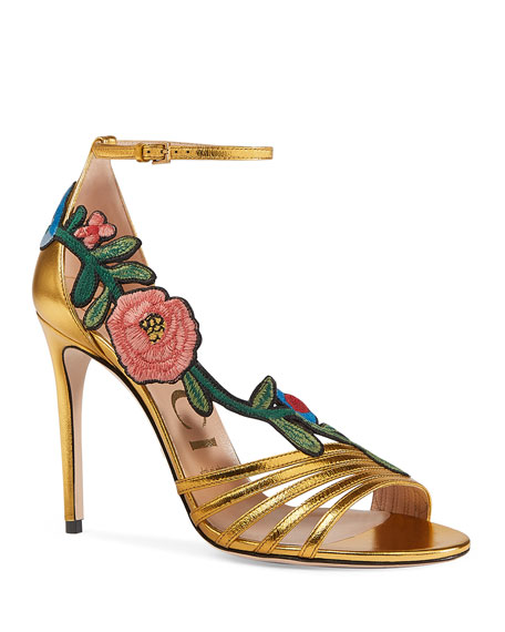 Gucci Ophelia Embroidered Metallic Sandal, Gold
