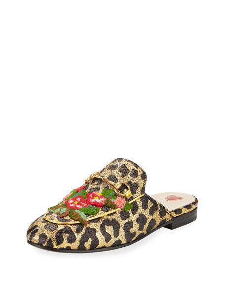 Gucci Princetown Metallic Leopard Flat Mule