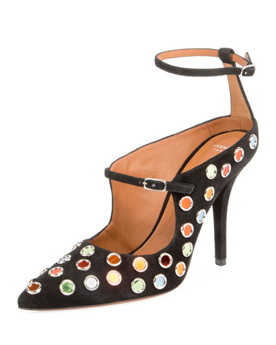Multicolor-Stud Ankle-Wrap Pump, Black