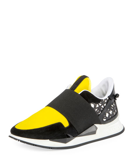 Givenchy Two-Tone Elastic Runner Sneaker, Black/Yellow