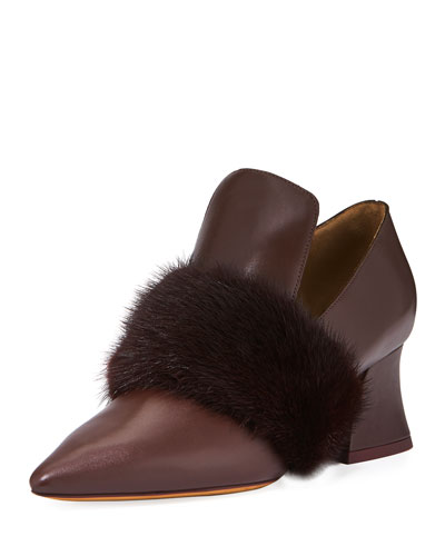Patricia Loafer Pump with Mink-Fur Trim, Burgundy
