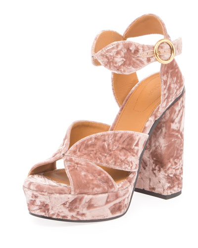 Graphic Leaves Velvet Sandal, Tan Rose