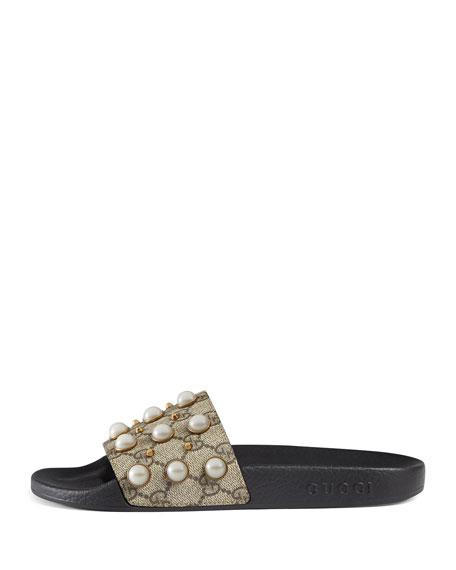 Pursuit Pearly-Studded GG Supreme Slide Sandal, Beige