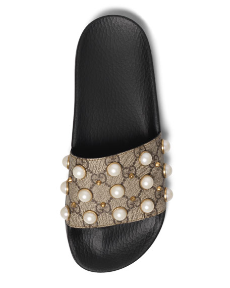 Pearly-Studded GG Supreme Slide Sandals, Beige