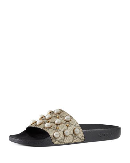Gucci Puruit Pearly-Studded GG Supreme Slide Sandal, Beige