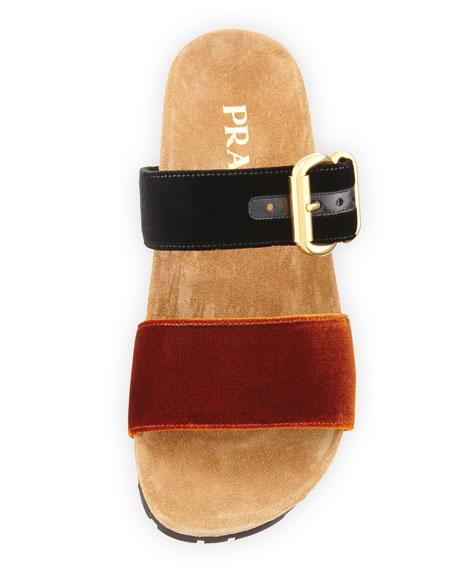 Prada Double-Strap Flat Velvet Slide Sandal