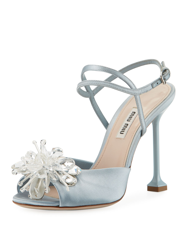 0eef77b07d Miu Miu Crystal-Embellished Sandal, Blue | Neiman Marcus