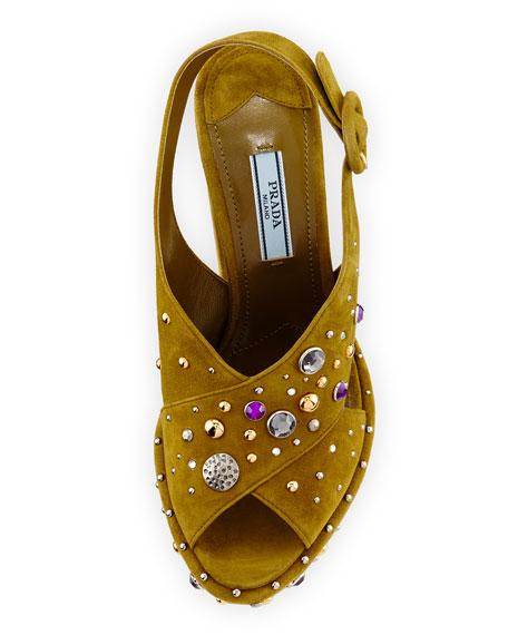 Crisscross Suede Embellished Platform Sandal