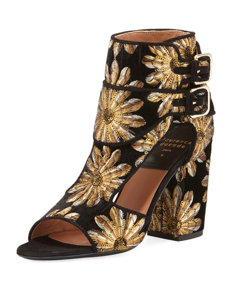 Rush Metallic-Embroidered Velvet Open-Toe Bootie