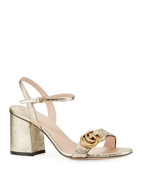 Gucci Marmont Metallic City Sandal, Gold