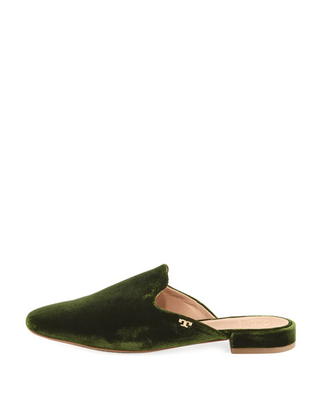 Carlotta Velvet Flat Mule Loafer, Dark Green