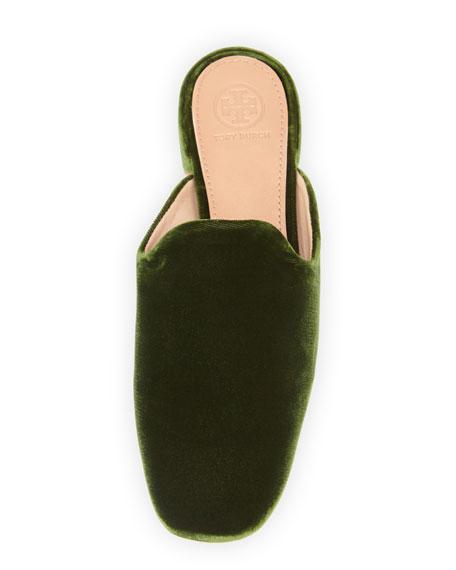 Carlotta Velvet Flat Mule Loafer, Dark Green