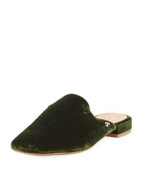 Tory Burch Carlotta Velvet Flat Mule Loafer, Dark