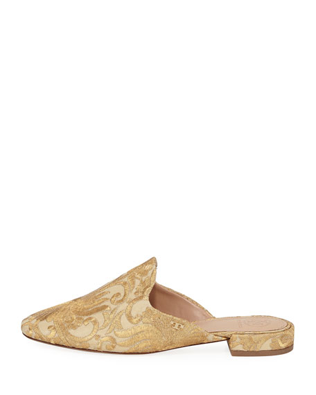 Carlotta Metallic Embroidered Flat Mule