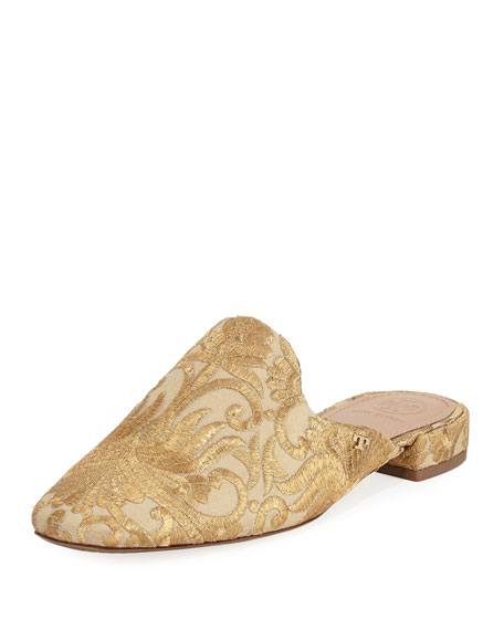 Tory Burch Carlotta Metallic Embroidered Flat Mule