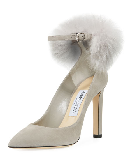 Jimmy Choo South Suede Fur Pompom Pump