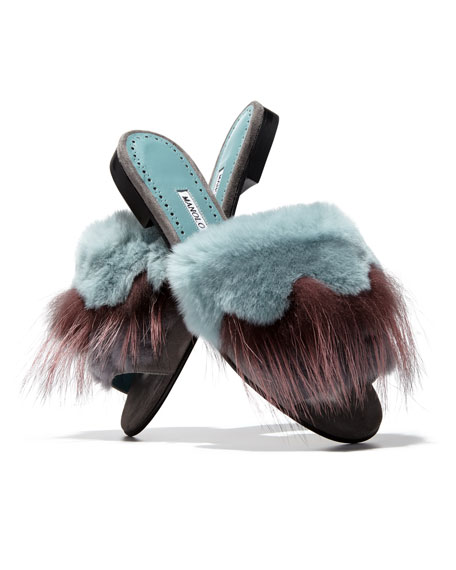 Pelosus Fur Slide Flat Sandal