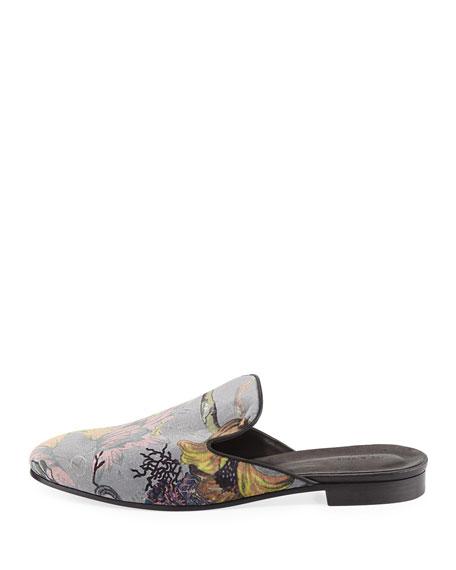 Savoy Floral Velvet Flat Slide, Gray/Multi