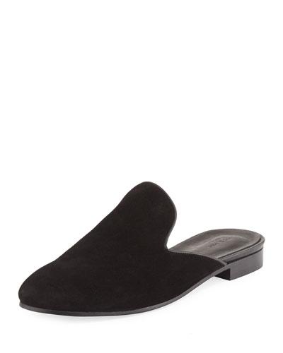 Savoy Suede Flat Mule, Black