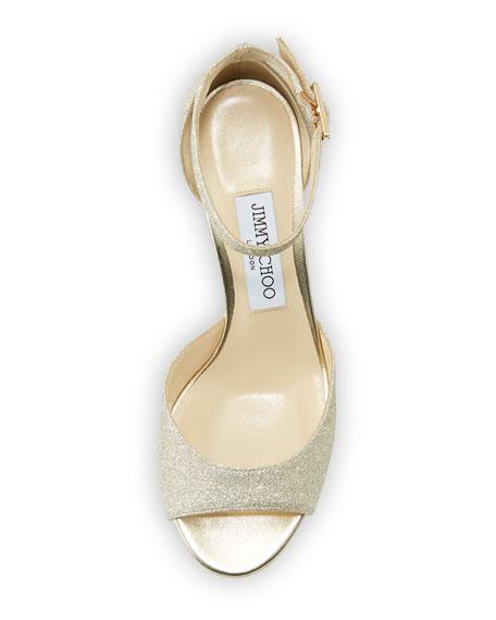 Jimmy Choo Annie Glitter 65mm Sandals, Platinum Ice