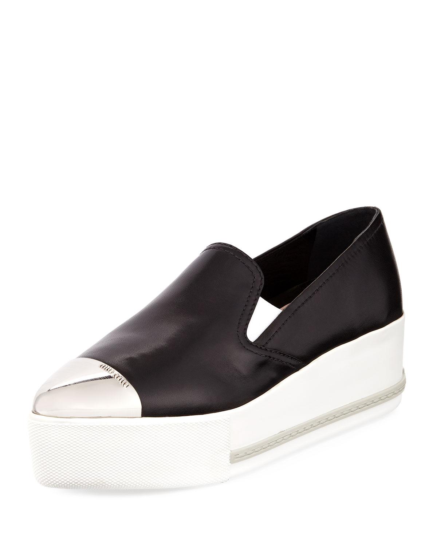 Miu Miu Platform Cap-Toe Leather Slip