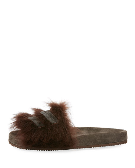 Monili-Trimmed Flat Fur Slide