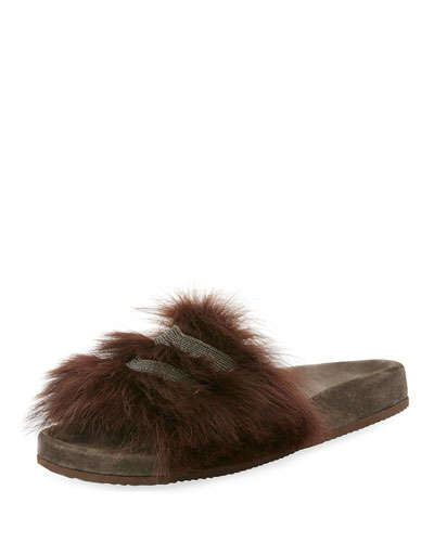 Monili-Trimmed Flat Fur Slide