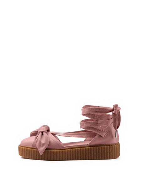 Bow Leather Creeper Sandal, Silver Pink